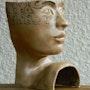 Visage - Sculpture en grès de Saint Amand émaillée. Xavier Besson