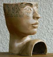 Visage - Sculpture en grès de Saint Amand émaillée.