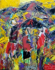 Umbrellas in the storm. Jacques Donneaud