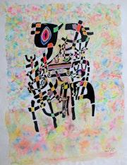 Mes debuts Compostion b encre de chine aquarelle et Acrylique dim 50cm X 60.