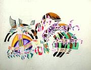 Mes debuts Compostion e Acrylique dim 50cm X 60 1985.