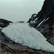 Au pied du glacier Svartisen, Norvège.