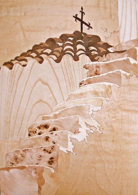 Memories of Santorini (marquetry work). Dušan Rakić Marquetry Design