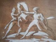 D'après Épisode de la course des chevaux libres de Gericault. Mylène Caïe-Bertin