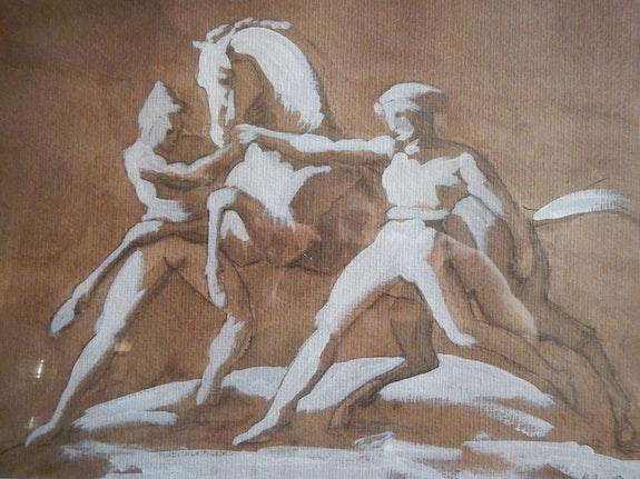 D'après Épisode de la course des chevaux libres de Gericault. Caïe-Bertin Mylène Caïe-Bertin