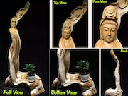 Natural Root Quan Yin Wood Sculpture. By Spirits
