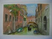 Canaux de venise avec pont et gondole. Maurice Chiesa