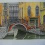 Vue d'un canal de venise avec boutique et pont. Maurice Chiesa