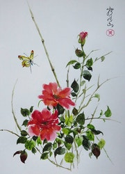 Roses et papillon.