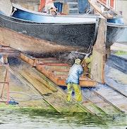 Nettoyage du bateau à Urk (Nederland).
