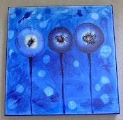 Original abstract fluid epoxy resin art - fantasy gem flowers.