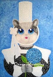 Peinture acrylique Chat breton «Enora».