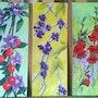 Les 3 tableaux précédents sur chevalet. Mariraff