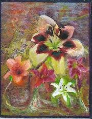 Petit tableau de fleurs collées..