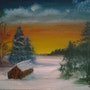 Winterlandschaft, Öl auf Leinwand, oil on canvas. Cathlyn De Burga