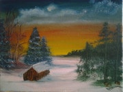 Winterlandschaft, Öl auf Leinwand, oil on canvas.