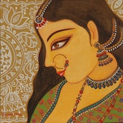 Artist- Suparna Dey, Title-The Bengali Bride, Medium-Tempera on Paper, Size-8'X8'.