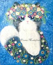 Peinture acrylique Chat «Printemps poilu».