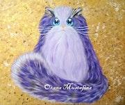 Peinture acrylique Chat «Mademoiselle Lily Violette».
