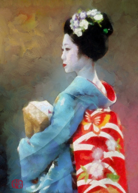 Maiko in Blue: Japanese geisha wearing blue kimono and red sash with butterflies. Cathleen Cawood Impressionist Heart