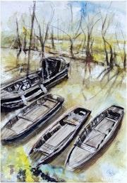 Aquarelle bord de Loire.