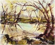 Bord de Loire aquarelle printemps.