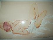 Entre les draps - Nu Femme allongée Aquarelle.