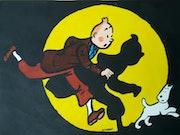 Tintin et Milou dans la lumière.