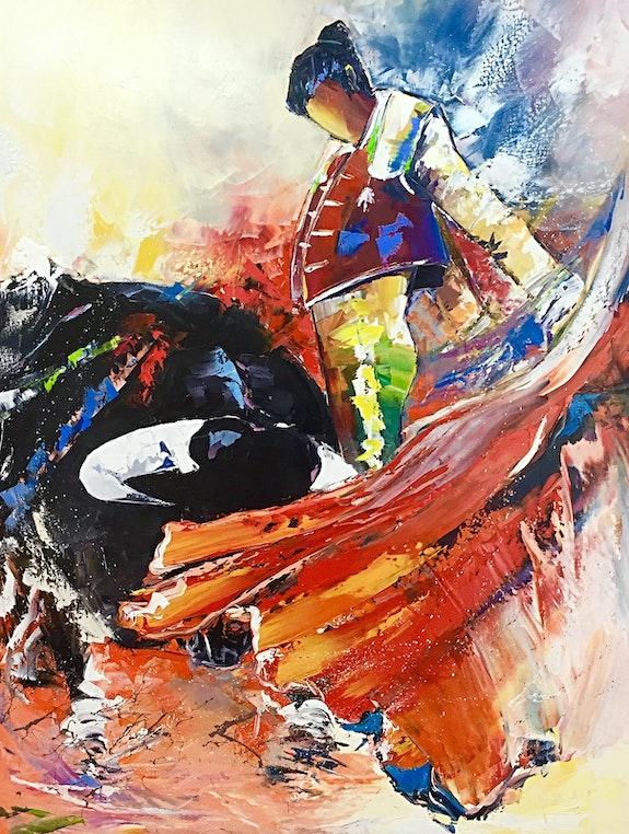 Corrida combat d'un matador et d'un taureau dans les arènes de Nîmes. Amagat Philippe Philippe Amagat