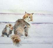 Aquarelle madame et son petit chat.