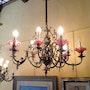 Modernista Gas Lamp en bronze Avec Tulipas In Glass. Antiguedadesoratam