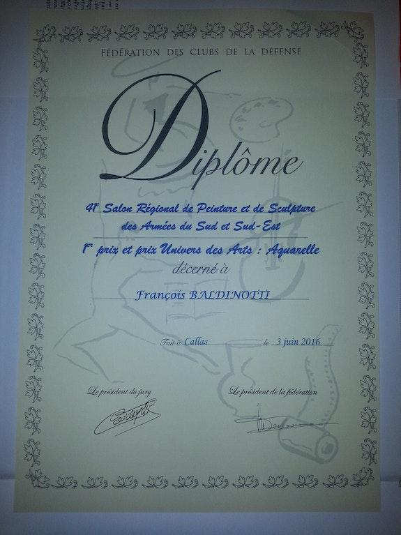 Premier prix et prix univers des arts Aquarelle. Baldinotti François Forangeart F. Baldinotti Peintre De l'air