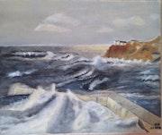 Rive bretonne - peinture à l'huile.