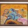 Oiseaux exotiques (tableau encadré). Martine Levillain