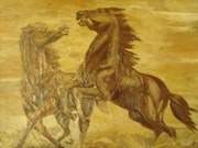Unique painting a pair of horses frolic.