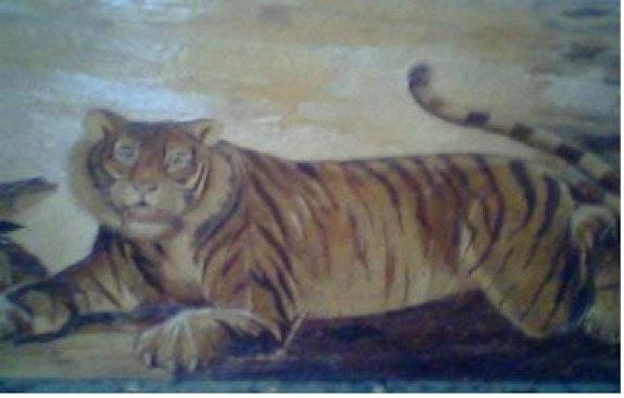Unique painting Sumatran tiger.  Gabrielle