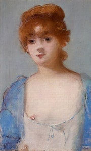 Edouard Manet - «Young Woman among in a Negligee - 1882» - Reproduction.