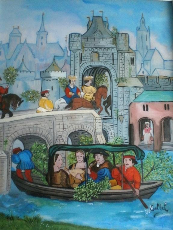 Peinture sous verre - Fête de Mai. Annie Saltel Annie Saltel