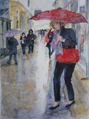 Shopping sous la pluie.