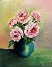 Vase de roses.