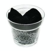 Plume de paon gravé sur son cache pot en verre. Gribouille-Et-Deco