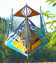 Abstract stained glass suncatcher.