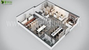 Modern Office 3d Floor Plan Design.