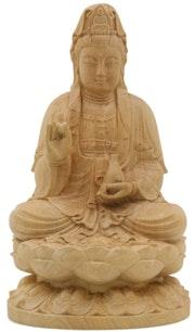 Statuette Artisanale - Bois de Pin - Bouddha Guanyin. Artisan d'asie