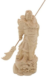 Sculpture - Pine Wood - Chinese God of war Guan Yu. Artisan d'asie