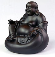 Hand carved Statue - Black Sandalwood - Laughing Buddha Maitreya sitting. Artisan d'asie
