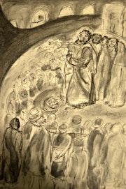 Le prédicateur - fusain sur papier - 21x30 cm. Daniele Fedi
