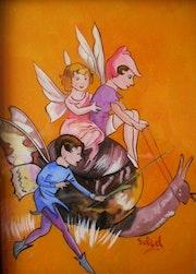 Peintures sous verre - Fées, lutins et libellules, le monde de la féérie.