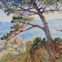 Monaco Mediterranean coastal, impressionist painting. Gallery Pierre