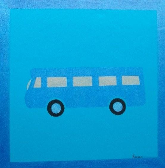 Le car est bleu ou le carré bleu. Fk Fk